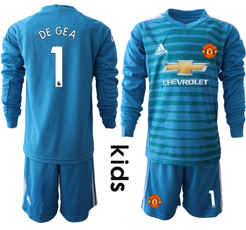 Youth 2018-2019 club Manchester United blue goalkeeper Long sleeve 1 soccer jerseys