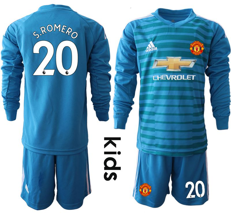Youth 2018-2019 club Manchester United blue goalkeeper Long sleeve 20 soccer jerseys