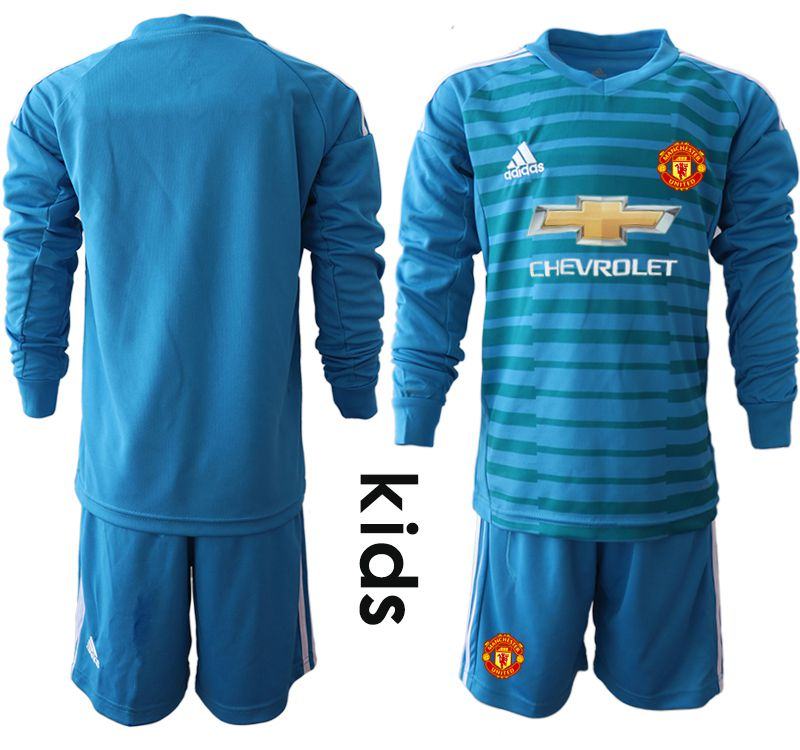 Youth 2018-2019 club Manchester United blue goalkeeper Long sleeve soccer jerseys