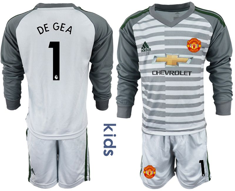 Youth 2018-2019 club Manchester United gray long sleeve goalkeeper 1 soccer jerseys