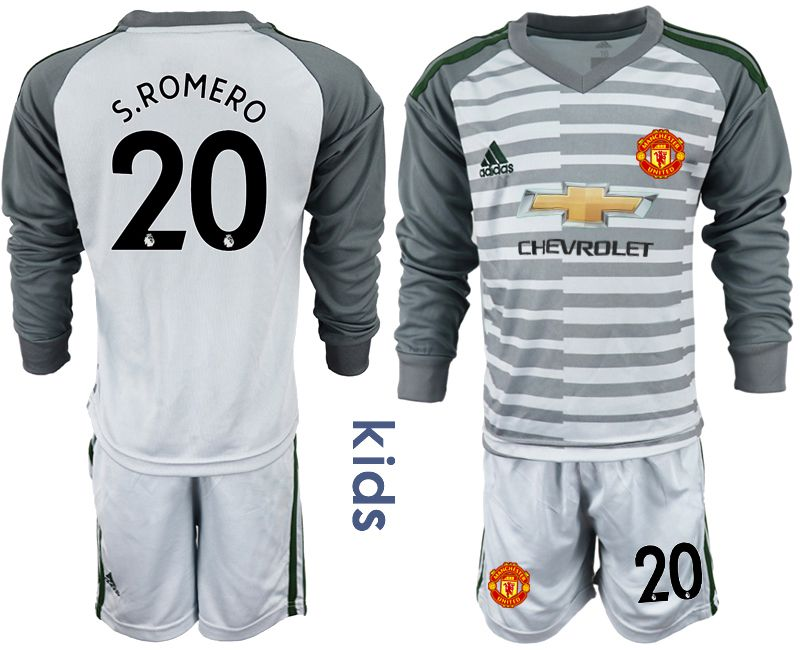 Youth 2018-2019 club Manchester United gray long sleeve goalkeeper 20 soccer jerseys