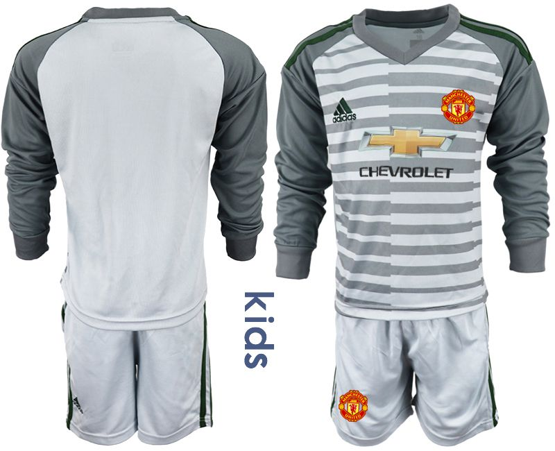 Youth 2018-2019 club Manchester United gray long sleeve goalkeeper soccer jerseys