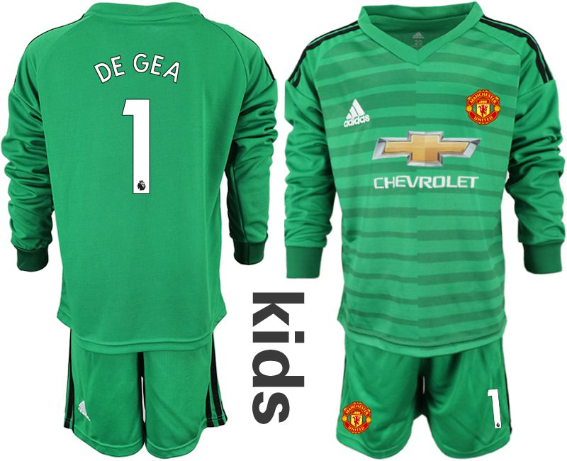 Youth 2018-2019 club Manchester United green long sleeve goalkeeper 1 soccer jerseys