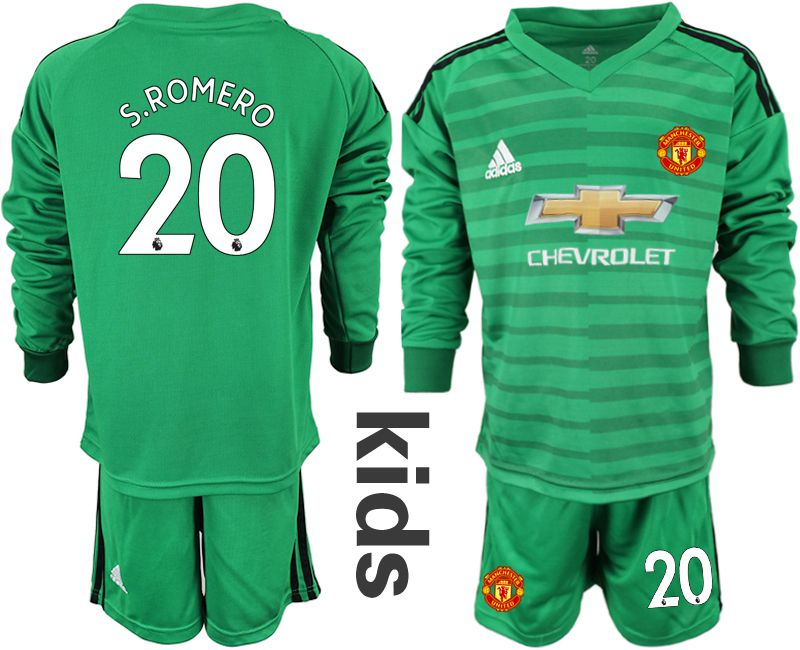 Youth 2018-2019 club Manchester United green long sleeve goalkeeper 20 soccer jerseys