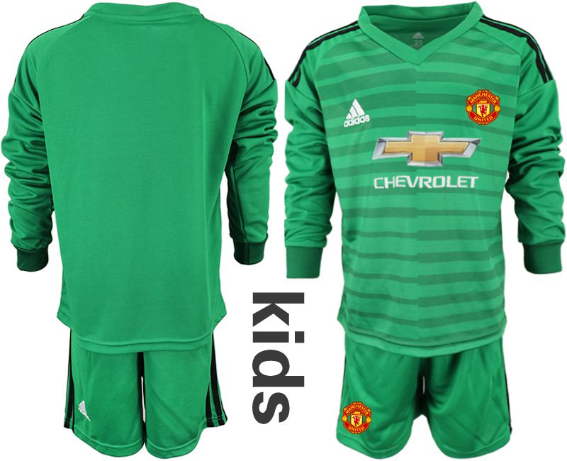 Youth 2018-2019 club Manchester United green long sleeve goalkeeper soccer jerseys