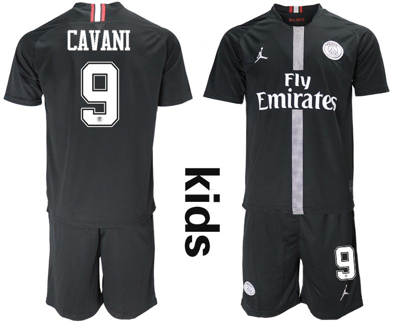 Youth 2018-2019 club Paris Saint Germain Jordan home 9 black soccer jerseys