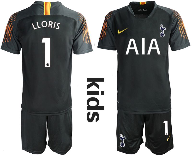 Youth 2018-2019 club Tottenham Hotspur Football Club black goalkeeper 1 Soccer Jerseys