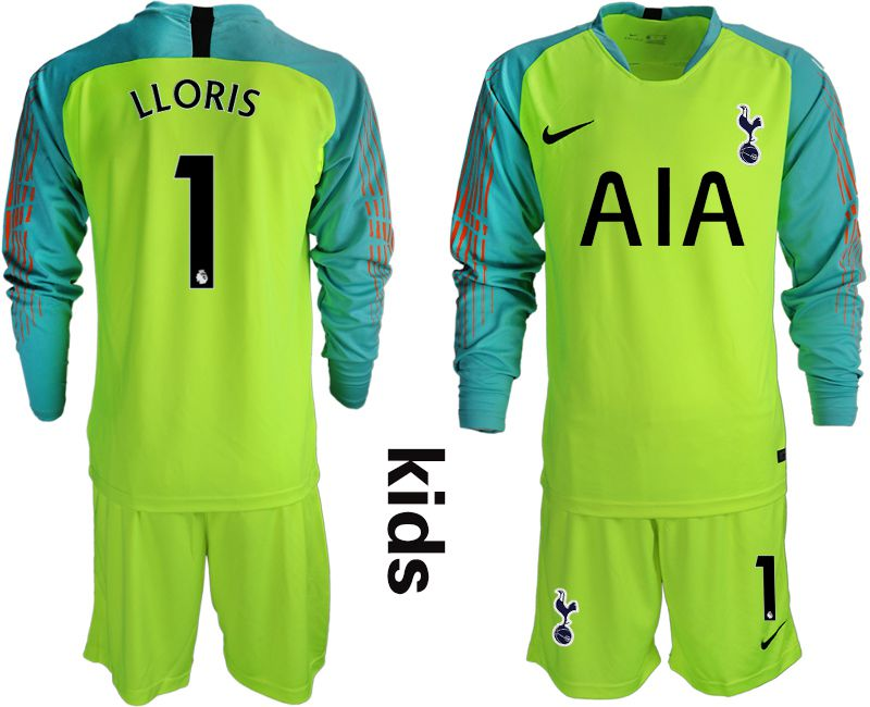 Youth 2018-2019 club Tottenham Hotspur Football Club fluorescent green long sleeve goalkeeper 1 Soccer Jerseys