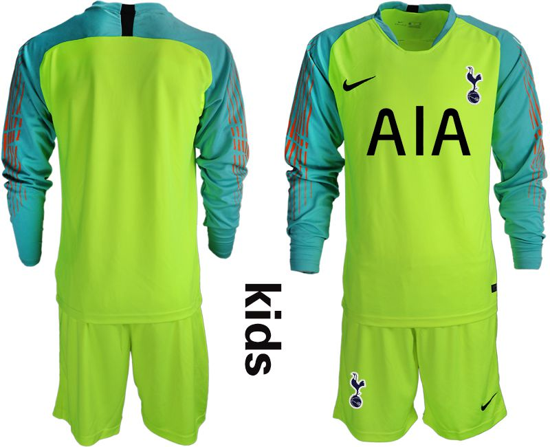 Youth 2018-2019 club Tottenham Hotspur Football Club fluorescent green long sleeve goalkeeper Soccer Jerseys
