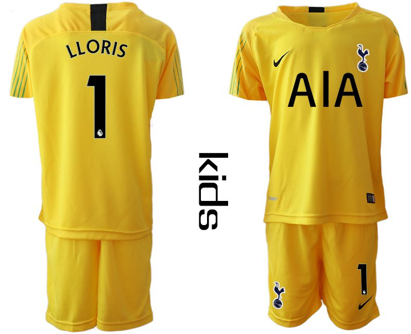 Youth 2018-2019 club Tottenham Hotspur Football Club yellow goalkeeper 1 Soccer Jerseys