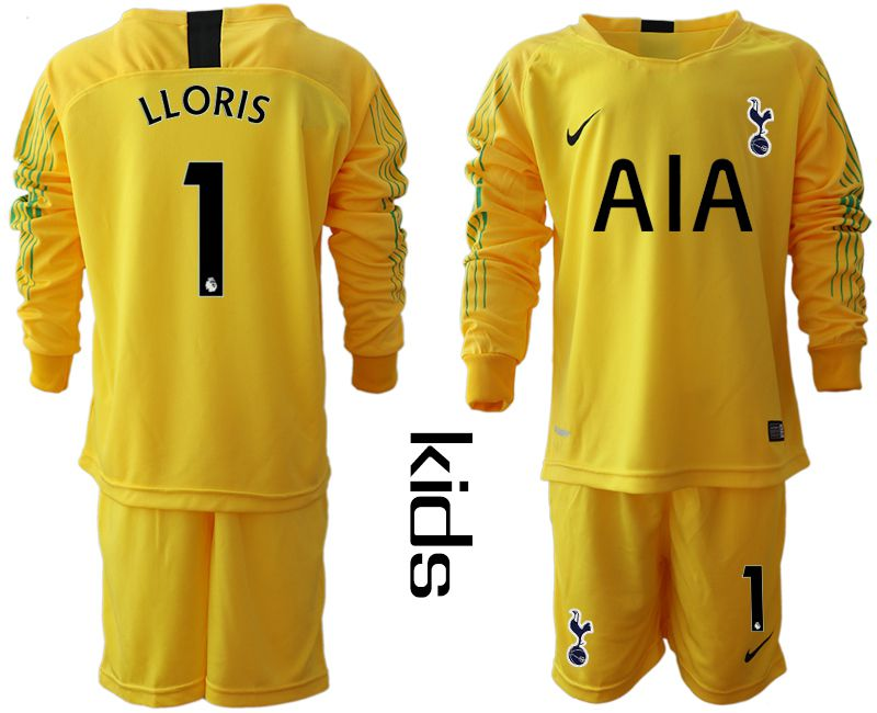 Youth 2018-2019 club Tottenham Hotspur Football Club yellow goalkeeper long sleeve 1 Soccer Jerseys