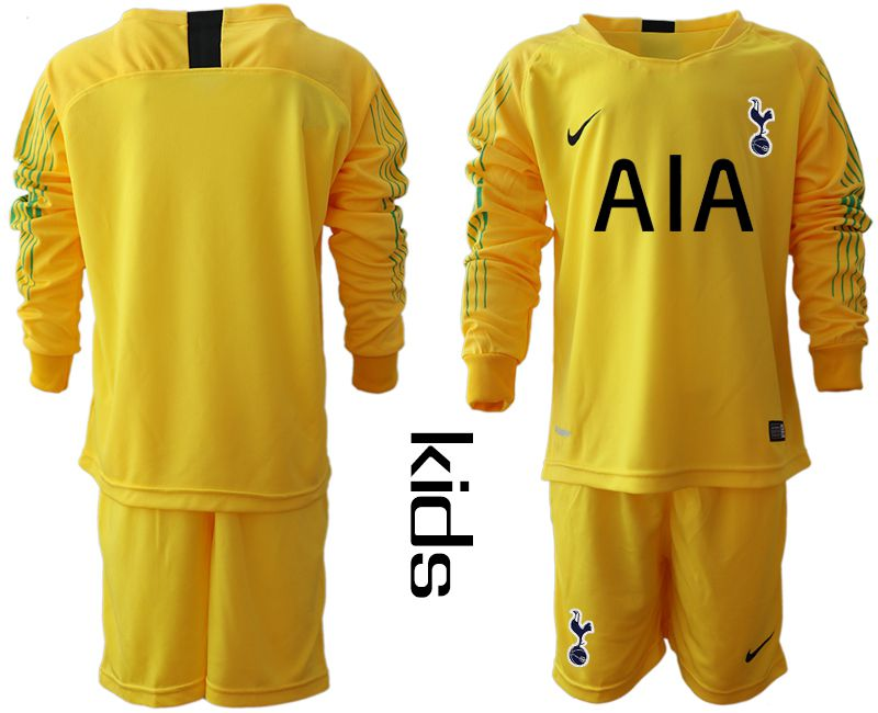 Youth 2018-2019 club Tottenham Hotspur Football Club yellow goalkeeper long sleeve Soccer Jerseys