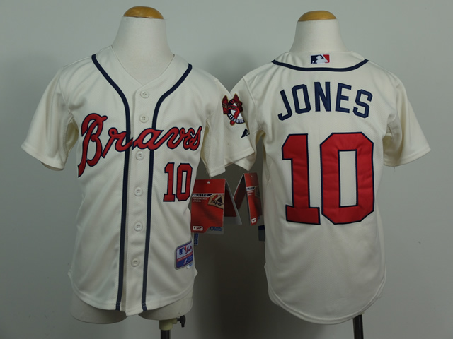 Youth Atlanta Braves 10 Jones Cream MLB Jerseys