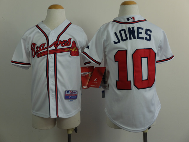 Youth Atlanta Braves 10 Jones White MLB Jerseys