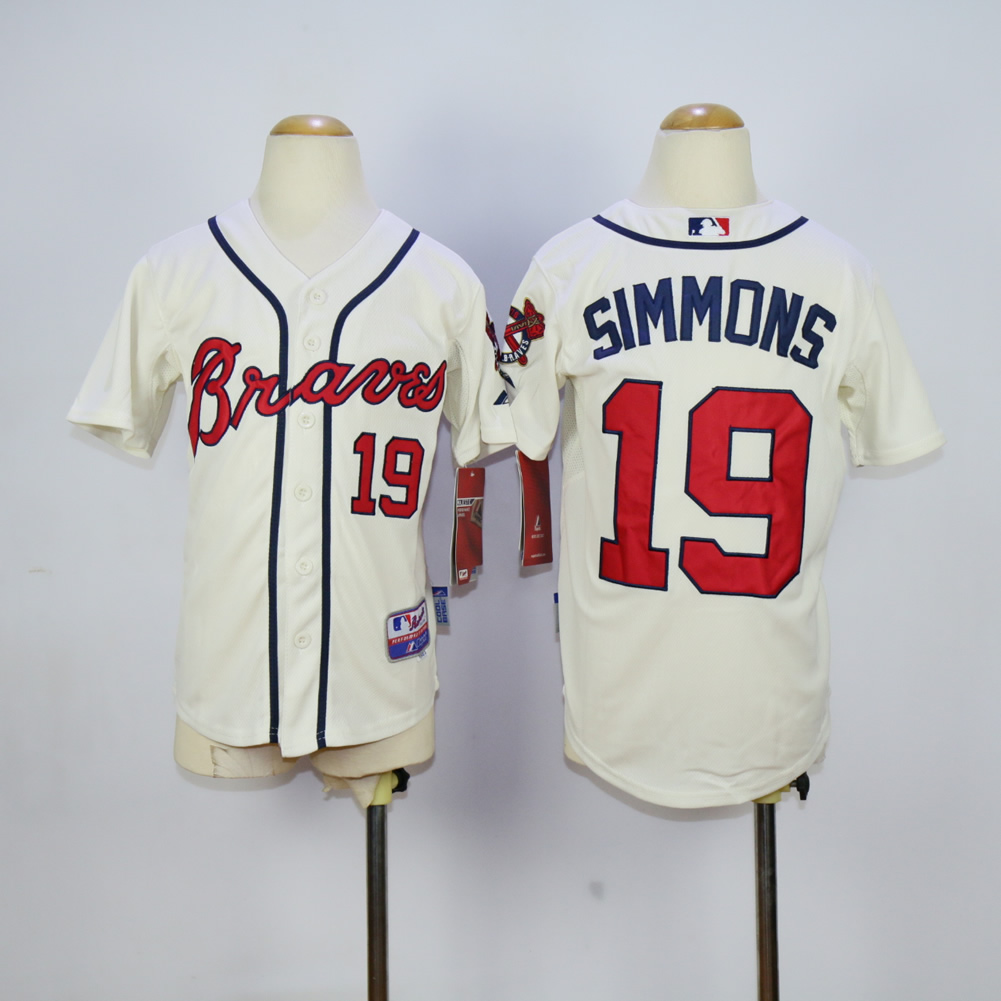 Youth Atlanta Braves 19 Simmons Cream MLB Jerseys