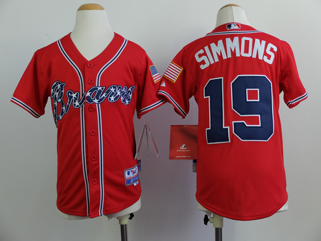 Youth Atlanta Braves 19 Simmons Red MLB Jerseys