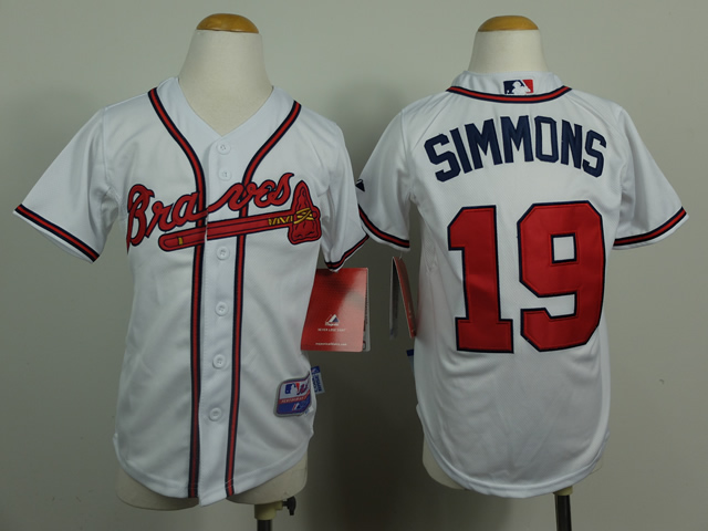 Youth Atlanta Braves 19 Simmons White MLB Jerseys