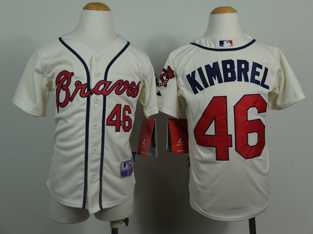 Youth Atlanta Braves 46 Kimbrel Cream MLB Jerseys