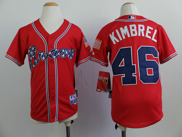 Youth Atlanta Braves 46 Kimbrel Red MLB Jerseys