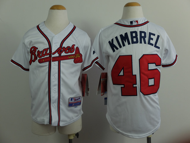 Youth Atlanta Braves 46 Kimbrel White MLB Jerseys