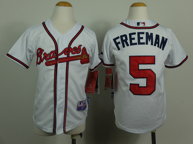 Youth Atlanta Braves 5 Freeman White MLB Jerseys