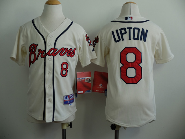 Youth Atlanta Braves 8 Upton Cream MLB Jerseys