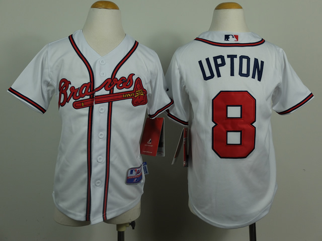Youth Atlanta Braves 8 Upton White MLB Jerseys