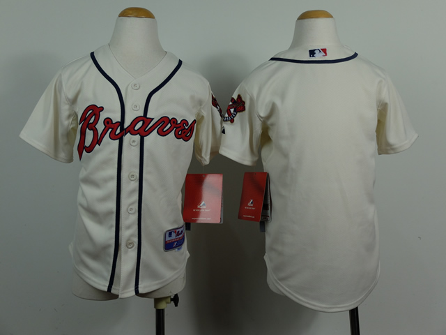 Youth Atlanta Braves Blank Cream MLB Jerseys