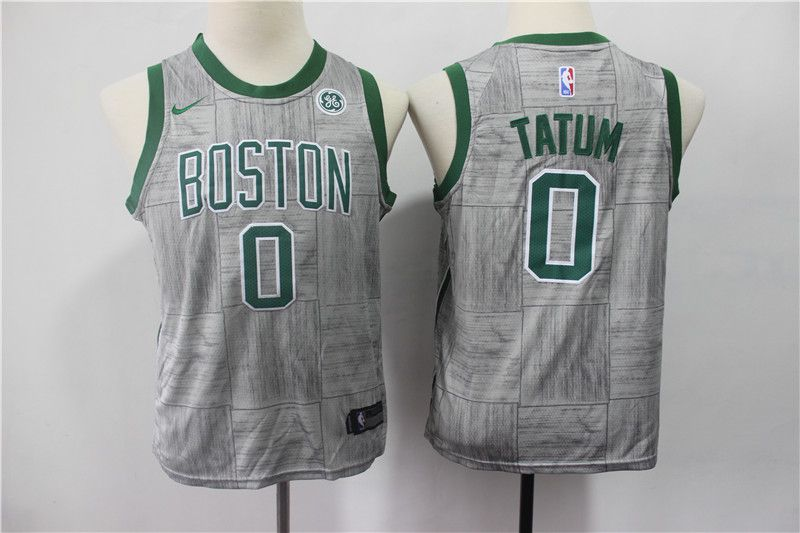 Youth Boston Celtics 0 Tatum Grey Game Nike NBA Jerseys