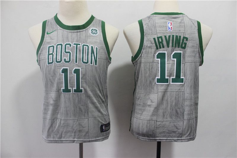 Youth Boston Celtics 11 Irving Grey Game Nike NBA Jerseys