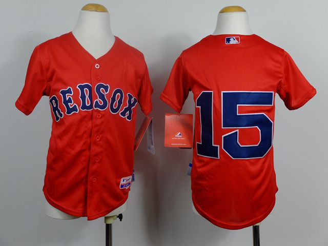 Youth Boston Red Sox 15 Pedroia Red MLB Jerseys