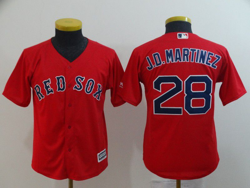 Youth Boston Red Sox 28 J.D.Martinez Red Game MLB Jerseys