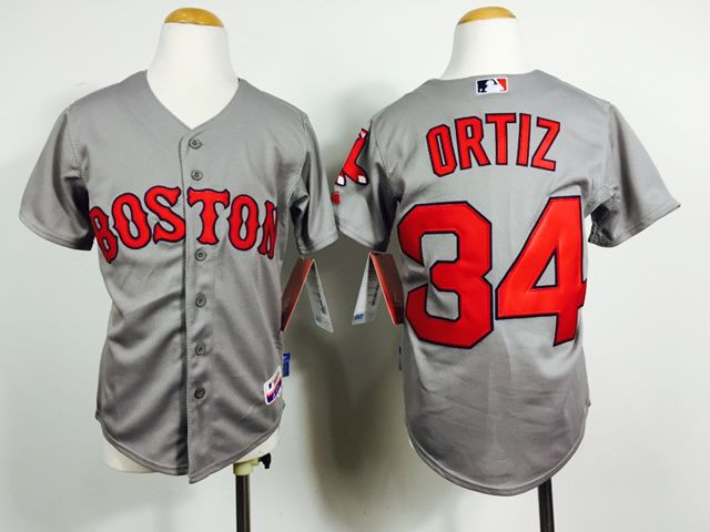 Youth Boston Red Sox 34 Ortiz Grey MLB Jerseys