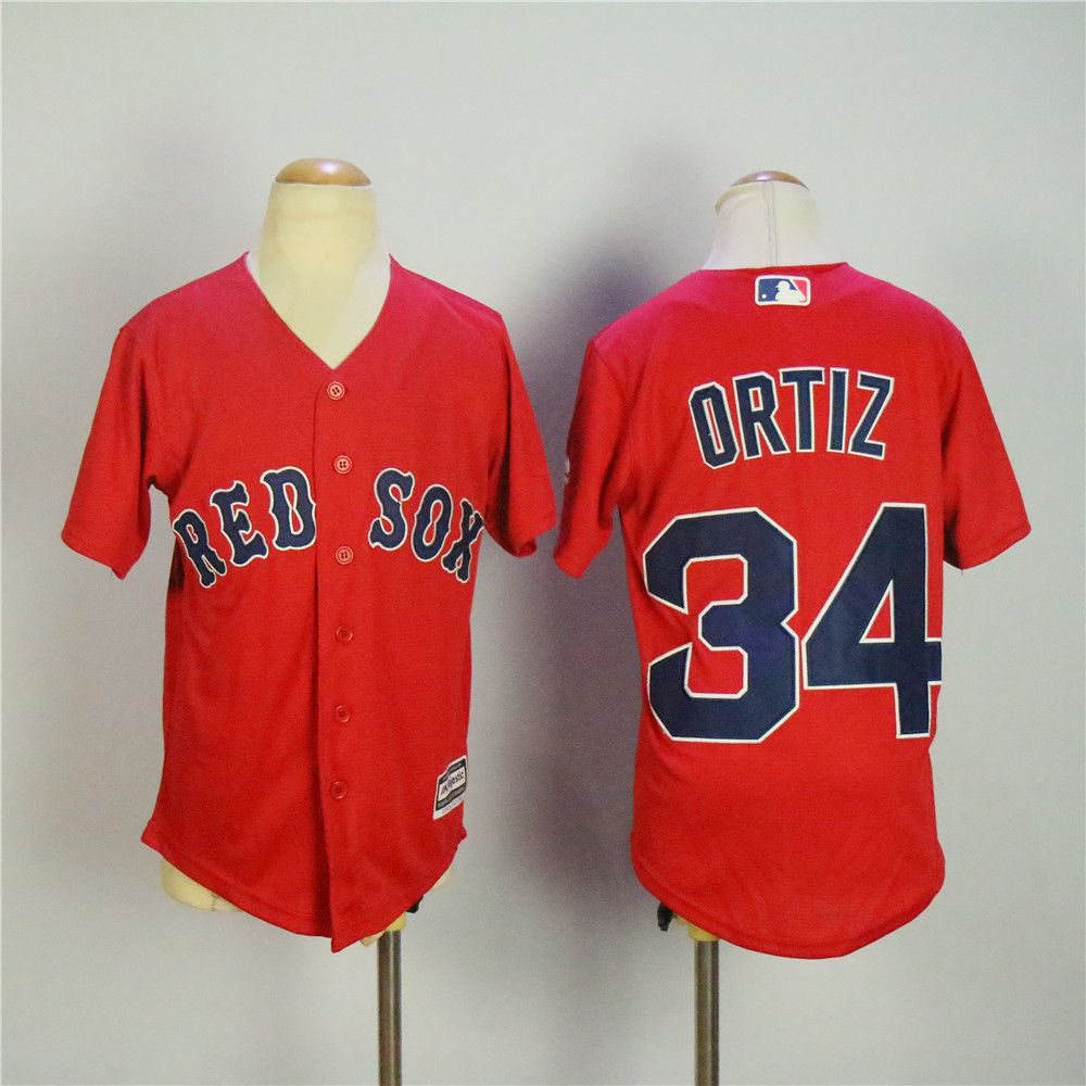 Youth Boston Red Sox 34 Ortiz Red MLB Jerseys1