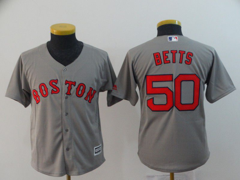 Youth Boston Red Sox 50 Betts Grey Game MLB Jerseys