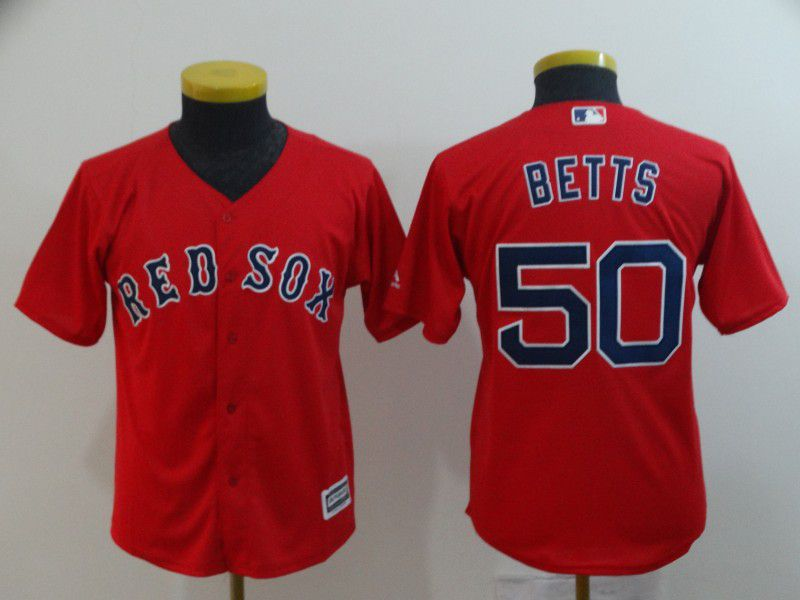 Youth Boston Red Sox 50 Betts Red Game MLB Jerseys