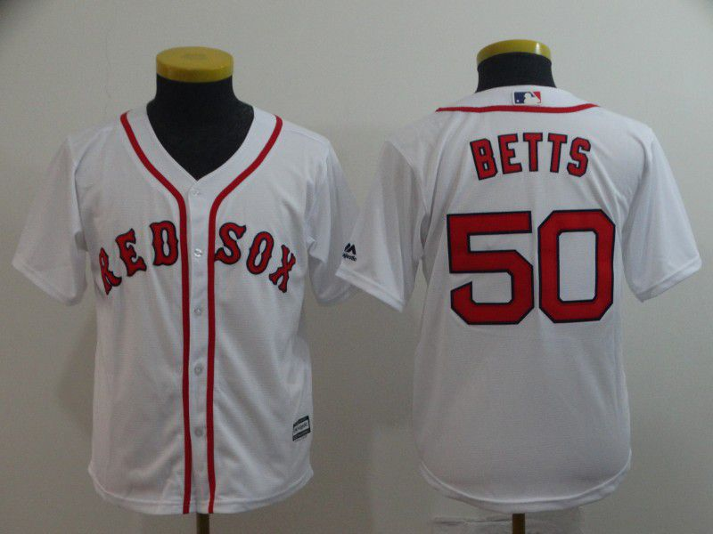 Youth Boston Red Sox 50 Betts White Game MLB Jerseys