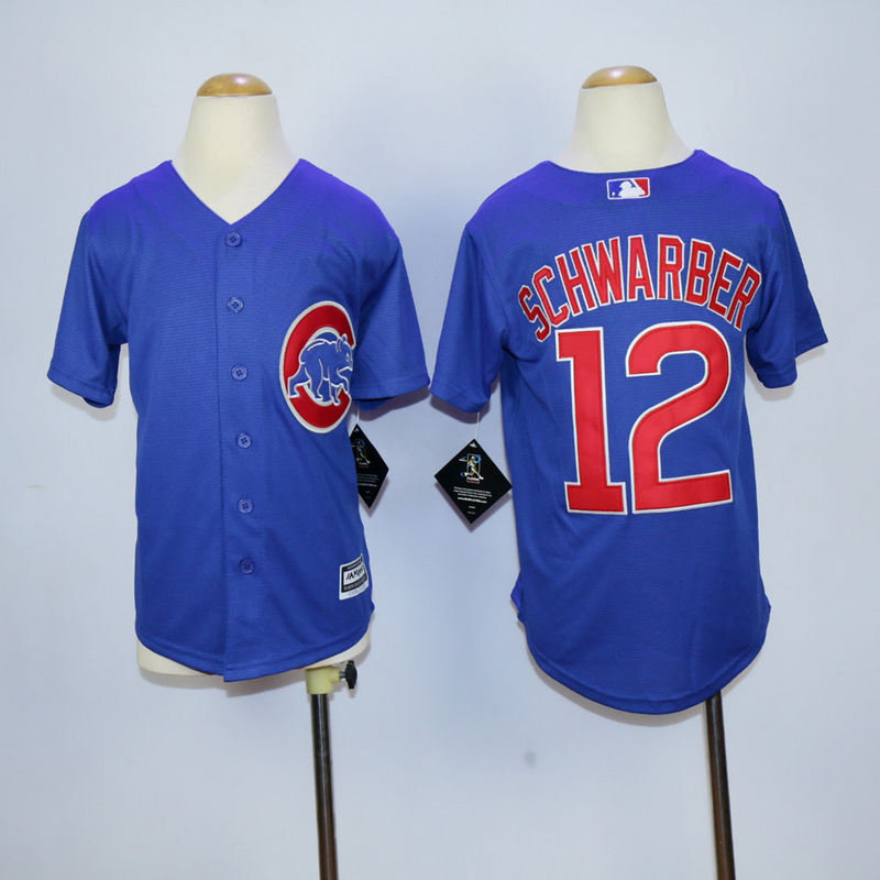 Youth Chicago Cubs 12 Schwarber Blue MLB Jerseys