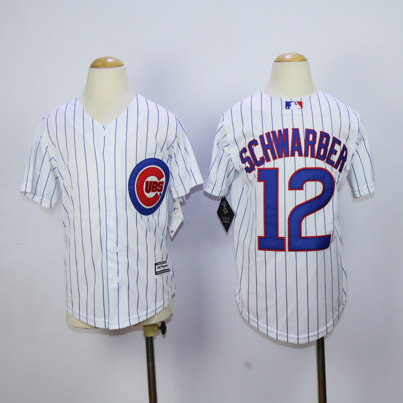 Youth Chicago Cubs 12 Schwarber White MLB Jerseys
