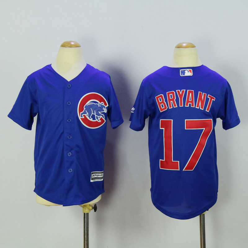 Youth Chicago Cubs 17 Bryant Blue MLB Jerseys