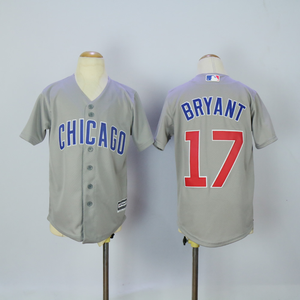 Youth Chicago Cubs 17 Bryant Grey MLB Jerseys