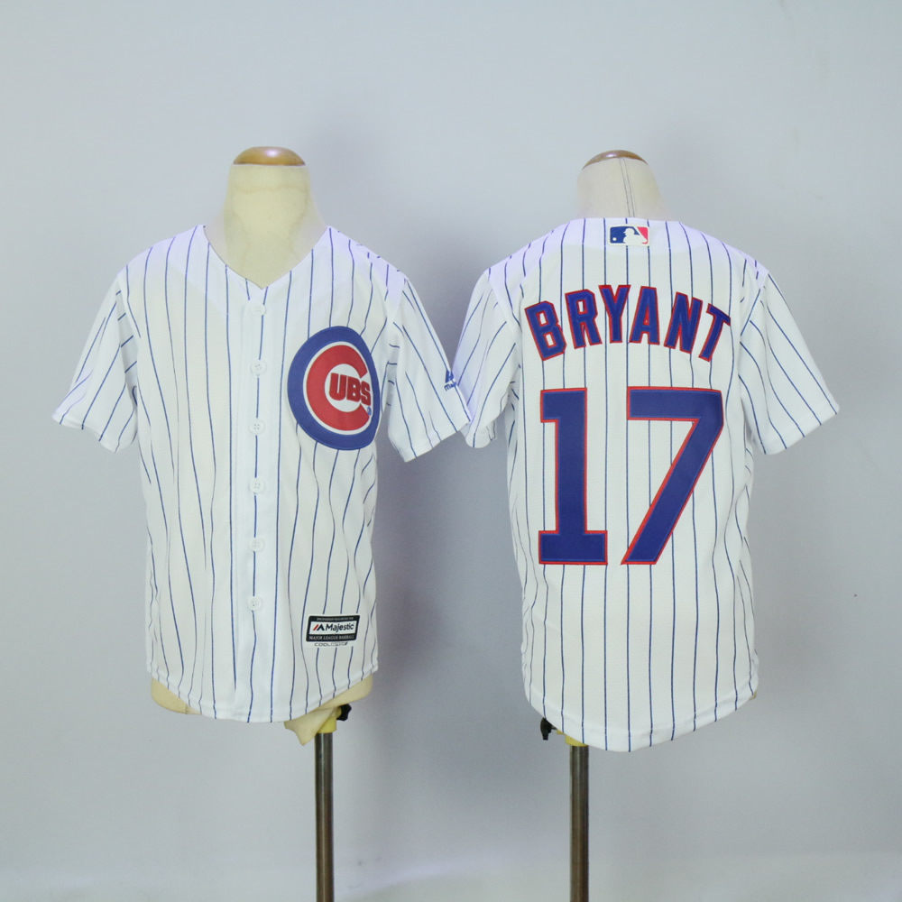 Youth Chicago Cubs 17 Bryant White MLB Jerseys