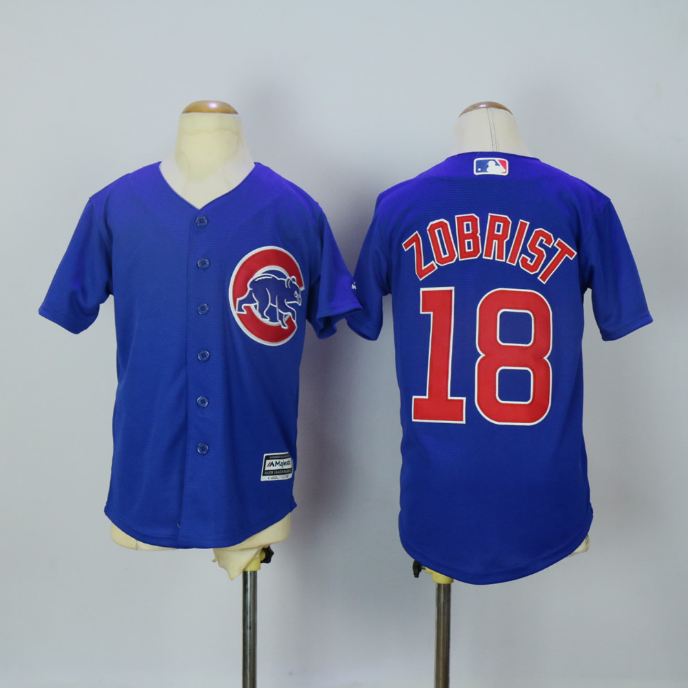 Youth Chicago Cubs 18 Zobrist Blue MLB Jerseys