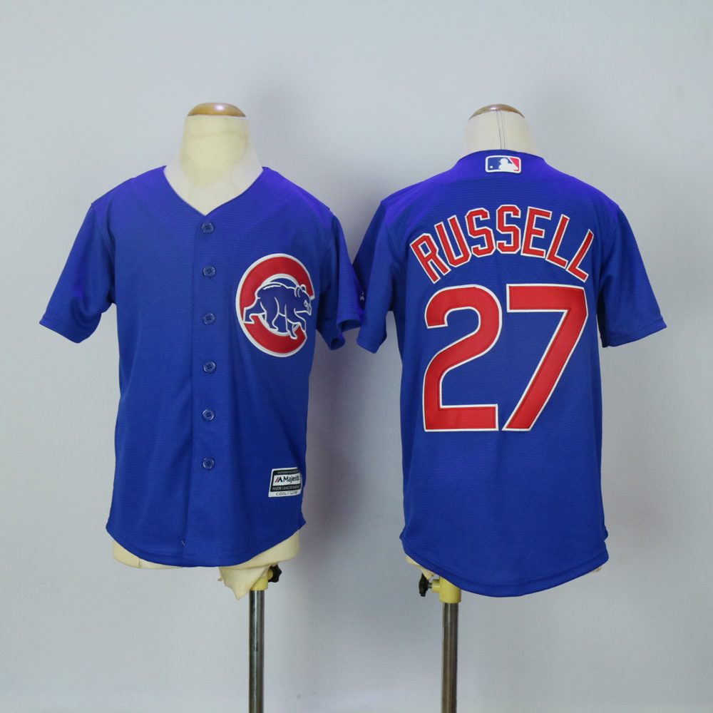 Youth Chicago Cubs 27 Russell Blue MLB Jerseys
