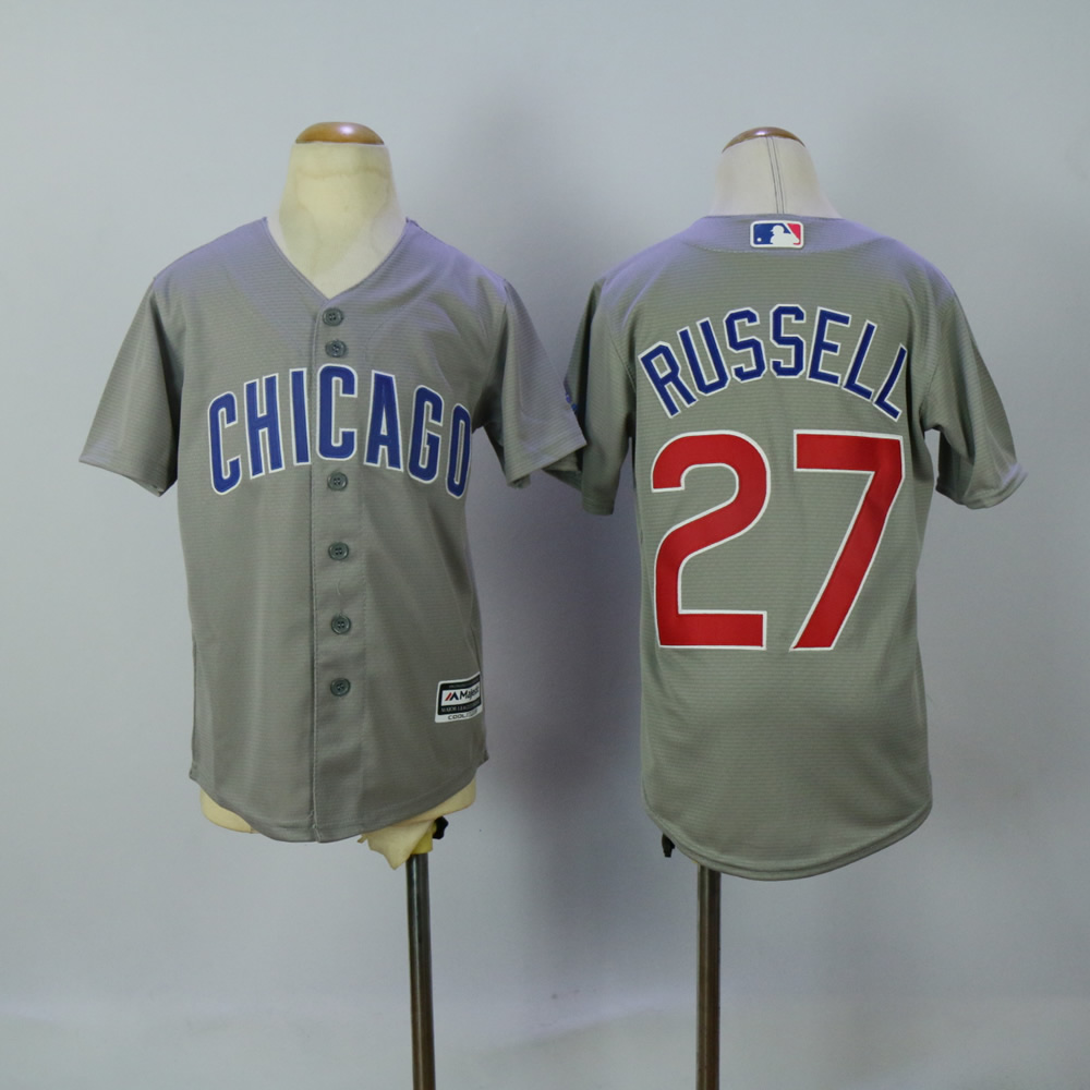 Youth Chicago Cubs 27 Russell Grey MLB Jerseys