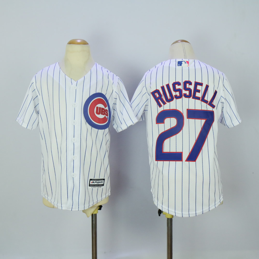 Youth Chicago Cubs 27 Russell White MLB Jerseys