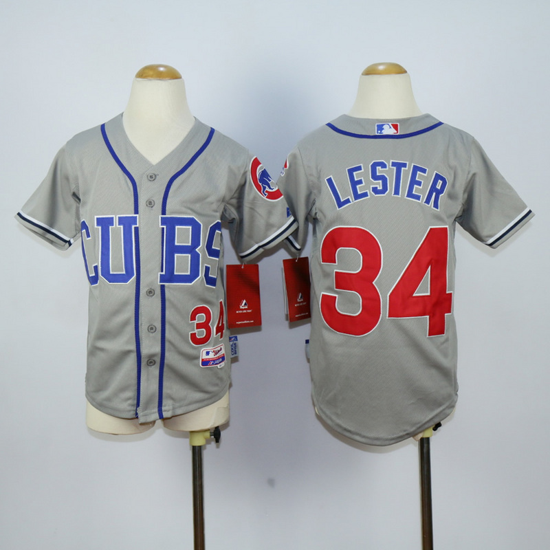 Youth Chicago Cubs 34 Lester Grey MLB Jerseys