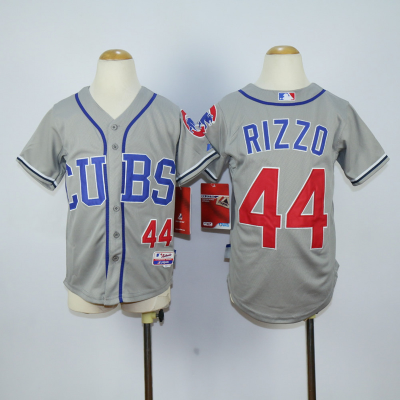Youth Chicago Cubs 44 Rizzo CUBS Grey MLB Jerseys