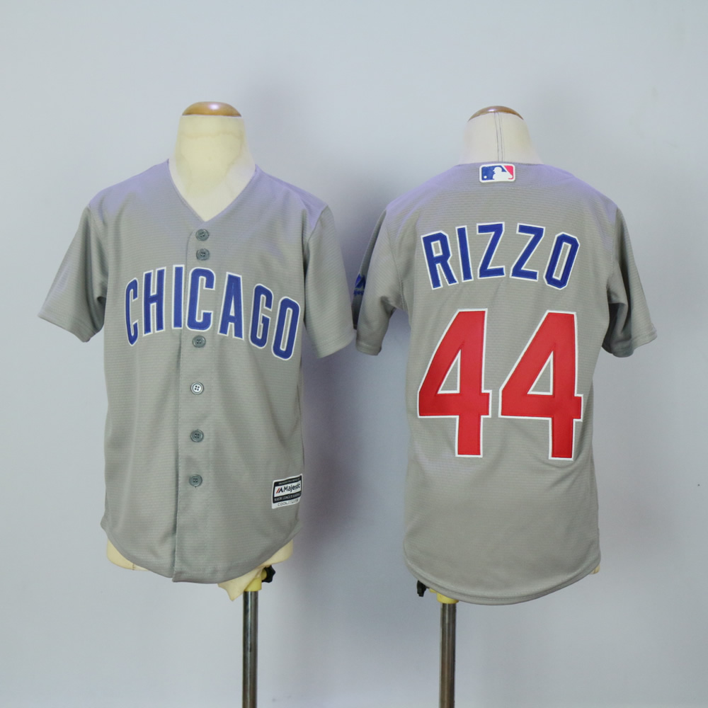 Youth Chicago Cubs 44 Rizzo Grey MLB Jerseys