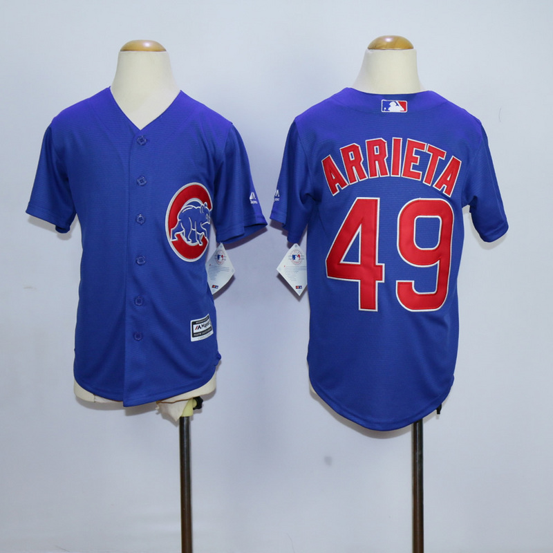 Youth Chicago Cubs 49 Arrieta Blue MLB Jerseys